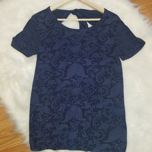 Lucky Brand Printed Open Tie Back Tee NWT
